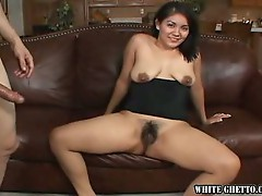 Asian babe loves hairy fuck action