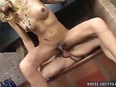 Nasty tranny with tiny dick for horny hunk fucker