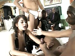 Black cock suck to perfection with this bondage girls