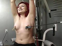 Redhead milf bound to cum after humiliating bdsm torture