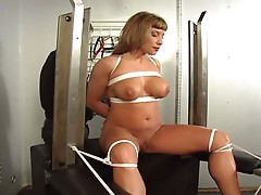 Harlot slave tied and toyed to cum