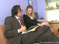 Brunette got laid with her mature Teacher in salutes office.