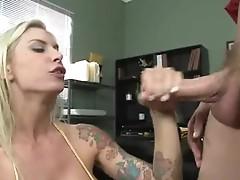 Tattooed wang junkie Brooke biggs gags on wet shaft fucking throat