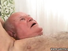 Busty sexy blonde gives blowjob to nasty old man