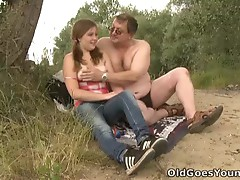Celine doesn't wait to come across a half naked Man sunbathsing near the woods