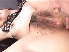 Horny hairy Japanese schoolgirl sucking