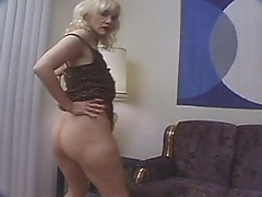 Cute blondy Gina playing with dildo in her hairy fur pie