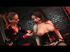 Slave girl obeys mistress and surrenders to fuck machine