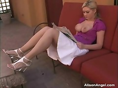 Alison Angel receives bare in a public plAce
