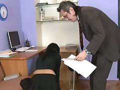 Jenny rides the teacher's cock.