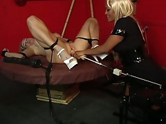 Horny busty babe get machine fucked by her master !