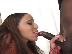 Lovely ebony goddess opens pussy for huge black cock stretching