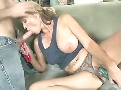 Hot milf sucking hard cock and toying pussy