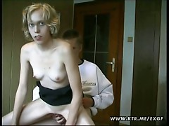 Blonde girlfriend gets all kinky by herself and with bf outdoors