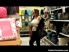 Shopping babes get their big boobs exposed