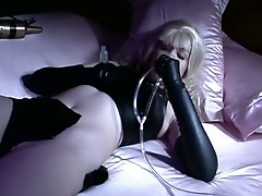 Horny blonde in solo fetish play with nipple and pussy suction