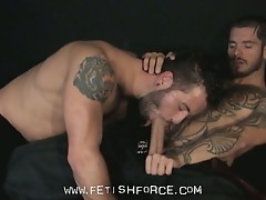 Tattooed hunks pleasure each others asses