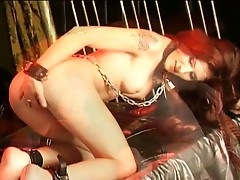 Two horny lesbians fucking with huge dildo in dimlight !