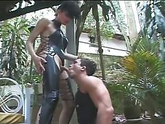Tranny fucks a horny young hunk
