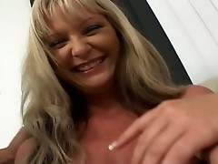 Blonde knock into neighbor's door and gets fucked