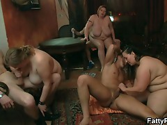 Three huge and horny bbw get their pussies pounded
