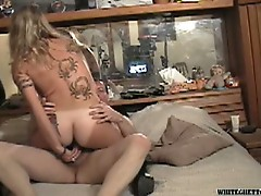 Hot blonde bitch fucked by an older man