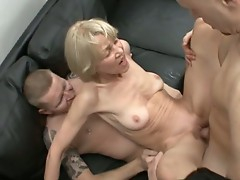 Skinny german granny taking two huge cocks all at once