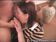 Hot slutty babe loves sinful spanking with some cock sucking