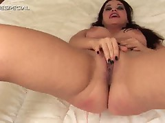 European brunette in hot solo masturbation