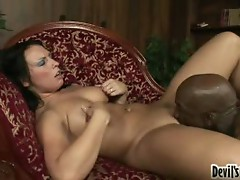 Busty chick fucked by horny black dude