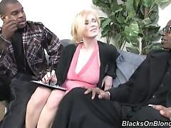 Two Black Cocks Fucking a Blonde Slut