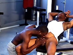 Horny gay dudes fuck after training