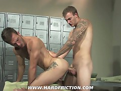 Bareback action in the locker room