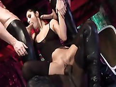 Lucy Belle has slaves who turn on her and gang bang her hard