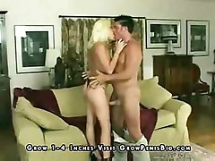 Blonde girl gets fucked hard by her stud's cock on the couch