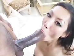 Asian gal is sucking a black cock before taking it in the ass
