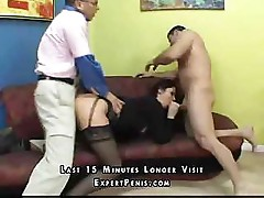Babe takes on two guys and works those dicks to perfection
