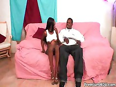Hot black bitch gets a tongue lashing and gets drilled by black stud