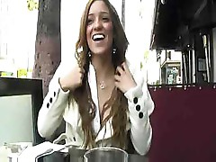 Melanie Rios gives a bit of pussy view under the cafe table