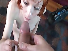 Skinny redhead strips down and gets fucked by Rodney Moore
