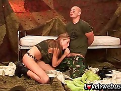 Sexy blonde gives a prisoner of war some extra fuck attention