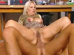Older mature woman gives her younger stud a good hard fuck