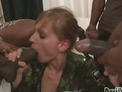 Sexy Olga Barz gets swarmed by black cocks ready to attack her mouth