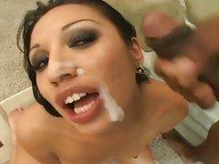 Sexy milf Jasmine Byrne riding a big black dick and getting a load of cum