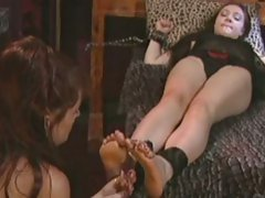 Alluring Deja Chan gets tied up & her feet played with