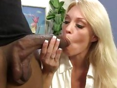 Raging MILF Charlee Chase slurps on this black prick