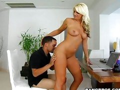 A hot stud gets some good foreplay from Abby Rode before fucking.