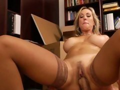 Brandi Love rides a hot young studs hot cock