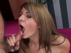 Gorgeous slut gets a mouth full off hot cock juice