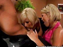 Super slut Puma and Kyla couldnt wait to taste a lucky man's hardon together